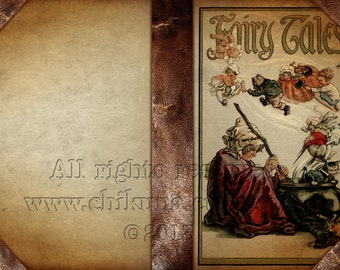 FAIRY TALES - Printable Download Digital Collage Sheet Art Book Cover Paper Craft Scrapbook
