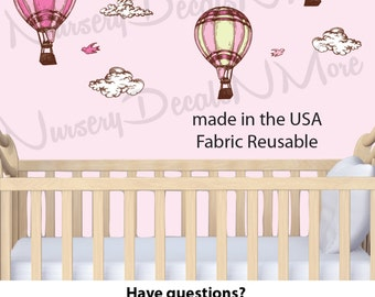 Mini Pink Girls Cloud Decals, Hot Air Balloon Decal for Baby Girls Nursery (Mini Pink Hot Air Balloons)