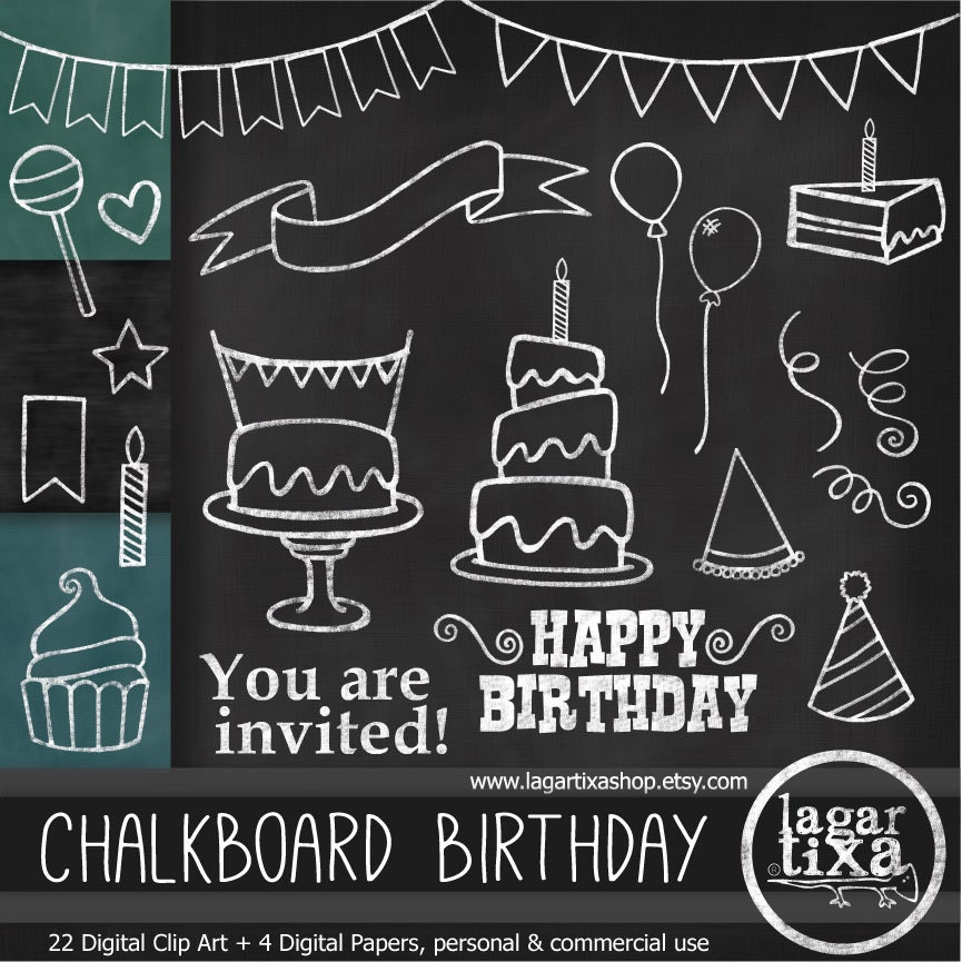 Chalkboard Birthday Party Clip Art Amp Digital Paper Green Black