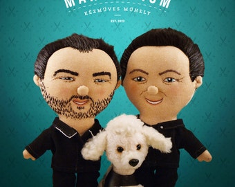 Selfie doll Couple+doggie - Selfie doll,  character doll, rag doll, art doll, personalized doll, made by photo