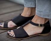 30% Sale, Uma, Chocolate Brown Sandals, Brown Leather Sandals, Flat Summer Shoes, Asymmetric Shoes