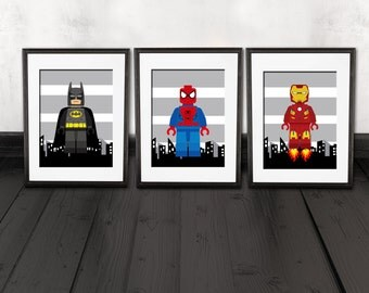 Charmant Superhero Wall Decor, Kids Room, Nursery Wall Prints, Set Of 3, PRINTS