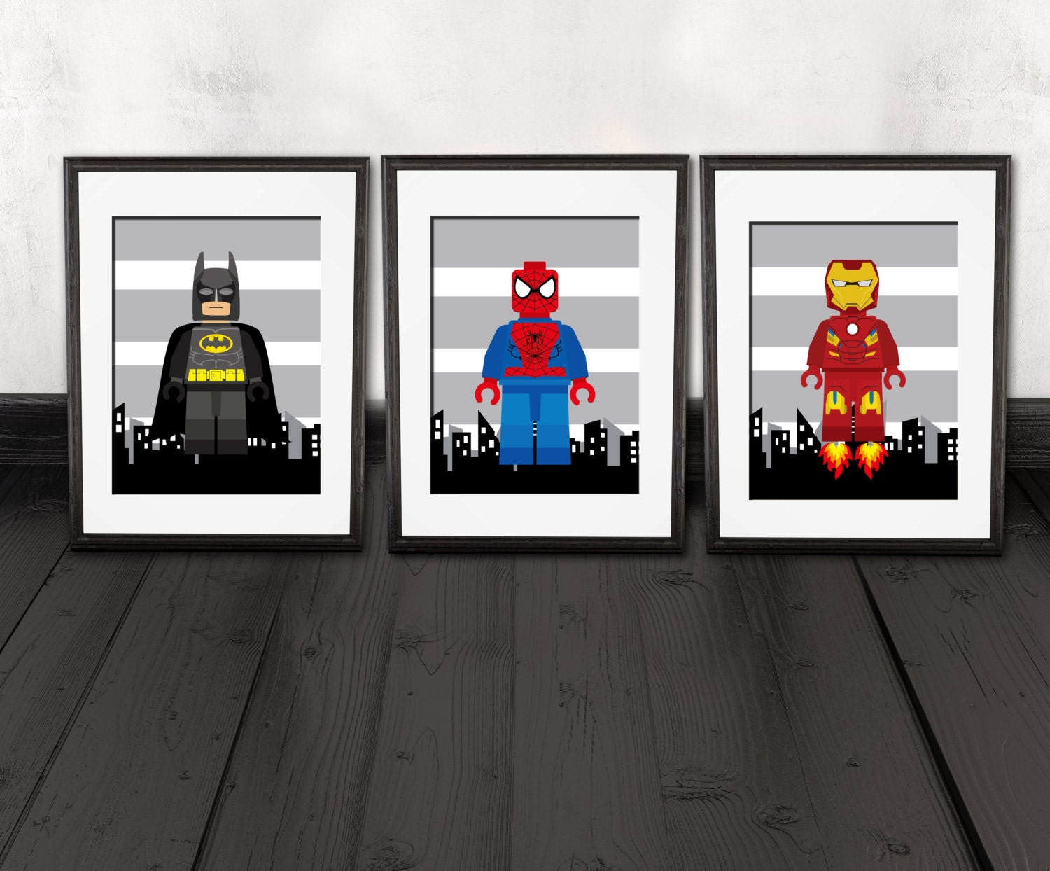Superhero wall decor kids room nursery wall prints set of for Decoration chambre spiderman