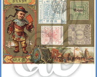 Asian Stamp Collage INSTANT DOWNLOAD