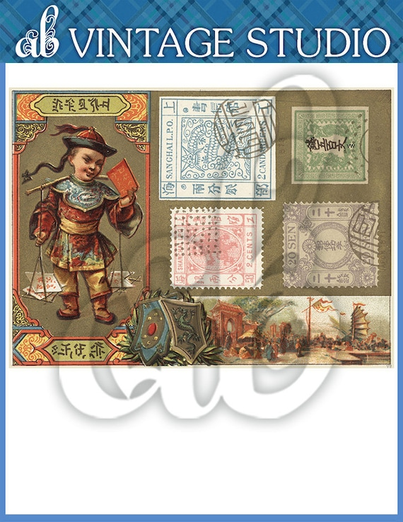 Asian stamp collage instant download from amybvintage on for Jewelry arts prairie village