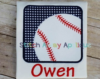 Baseball Box Machine Embroidery Applique Design