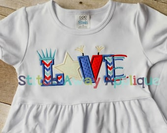 LOVE 4th of July Machine Applique Design