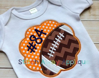 Football Scallop Machine Applique Design