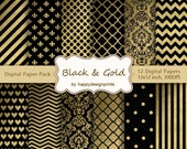 """Black Gold Patterns Texture Digital Paper Pack of 12 300dpi 12""""x12"""" Instant Download Papers Scrapbooking, Invites,Cards Background JPG JPEG"""
