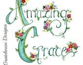 Hymn Art. Christian Art Print - Amazing Grace - Watercolor Print - (8x10) Hand Lettered