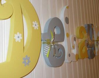 Nursery letters, Nursery wall hanging letters, yellow, gray & white nursery decor, nursery wall letters