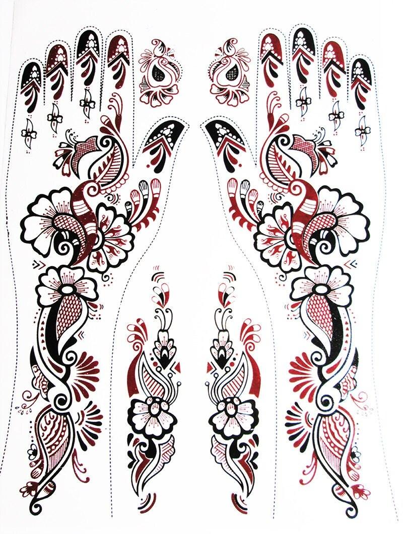 Mehndi Tattoo Stickers : Hand henna tattoo sticker mehndi by bindistoreusacanada