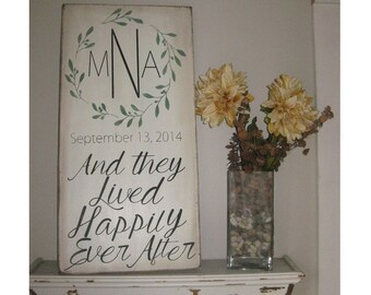 Bridal shower gift Olive Branch Simple Monogram and they lived happily ever after wood sign *Important date art*Wedding Gift * 12x24