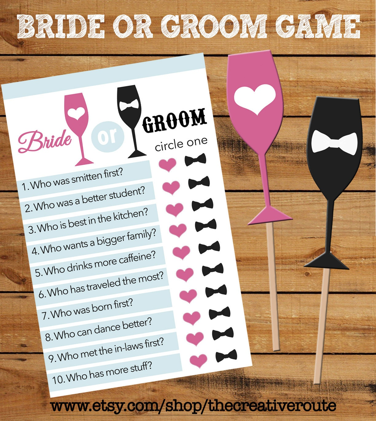 Wedding Shower Games For Bride And Groom Bride or Groom Printable Game