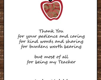 Custom Teacher Appreciation Gift   Patience And Caring Digital File
