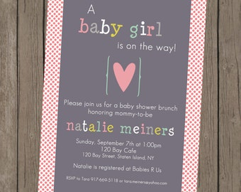 Printable Girl Baby Shower Invitation - Natalie Heart