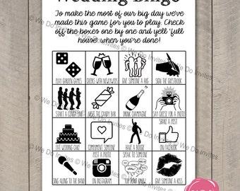 Wedding Bingo Game - Ice Breaker - Printable Wedding Favour - Reception Games - Instant Download