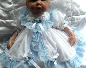 Reborn/Newborn Baby dress+hairband in  white/pale blue/reborn dolls clothes