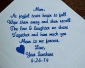 Personalized Wedding Handkerchief For Mother Of The Bride Or Mother Of the Groom Embroidered Custom Wedding Gift, FREE Gift Box (C)