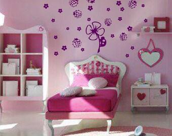 Ladybugs And Flowers Wall Decals // sticker nursery // art // baby // kids room decor // child // DA08