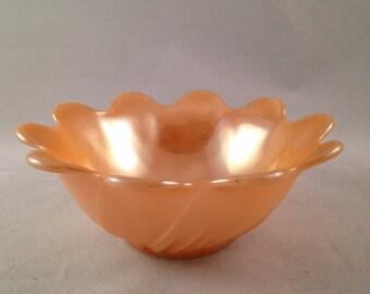 Vintage 1950s Lustreware Caramel Scalloped Edge Bowl Candy Dish