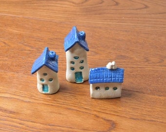 Three Miniature Houses Blue ceramic house tiny house Rustic House little house miniature home housewarming gift tiny cottage collectible