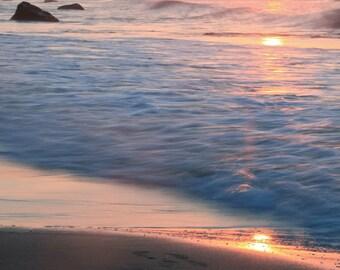 Pastel Beach Photography - Beach Art Canvas - Beach Wall Art - Nature Photography - Pastel - Ocean Waves - Pink - Beach Print - Canvas Print