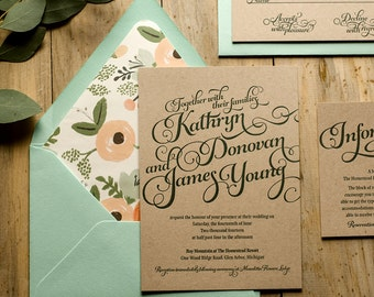 Rustic Wedding Invitation, Mint & Kraft Letterpress Wedding Invite, Rustic Wedding Invite, Calligraphy Invitation - Sample Set