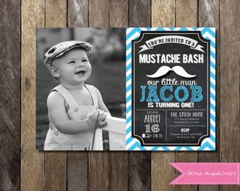 PRINTABLE  Chalkboard Mustache Birthday Invitation With Picture - 1st Birthday Invitation - Boys Girls Birthday Party 4x6 or 5x7