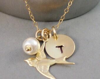 Golden Sparrow,Necklace,Bird,Bird Necklace,Personalize,Gold,Sparrow Necklace,Pearl,Birthstone,Birthstone Necklace,Handmade SeaMaidenJewelry