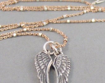 Angels Wings,Necklace,Rose Gold Necklace,Silver Wing,Angel Wing,Angel Wing Necklace,Two Wings,Angel Wing Jewelry,Handmade Seamaidenjewelry.