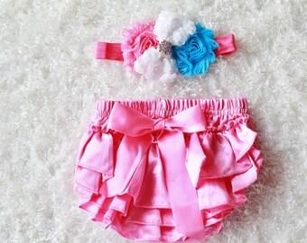pink turquoise baby Girl headband and Ruffle Bum Baby Bloomer,baby headband, Diaper Cover, Ruffle Bum, Newborn Headband Set - Photo Prop