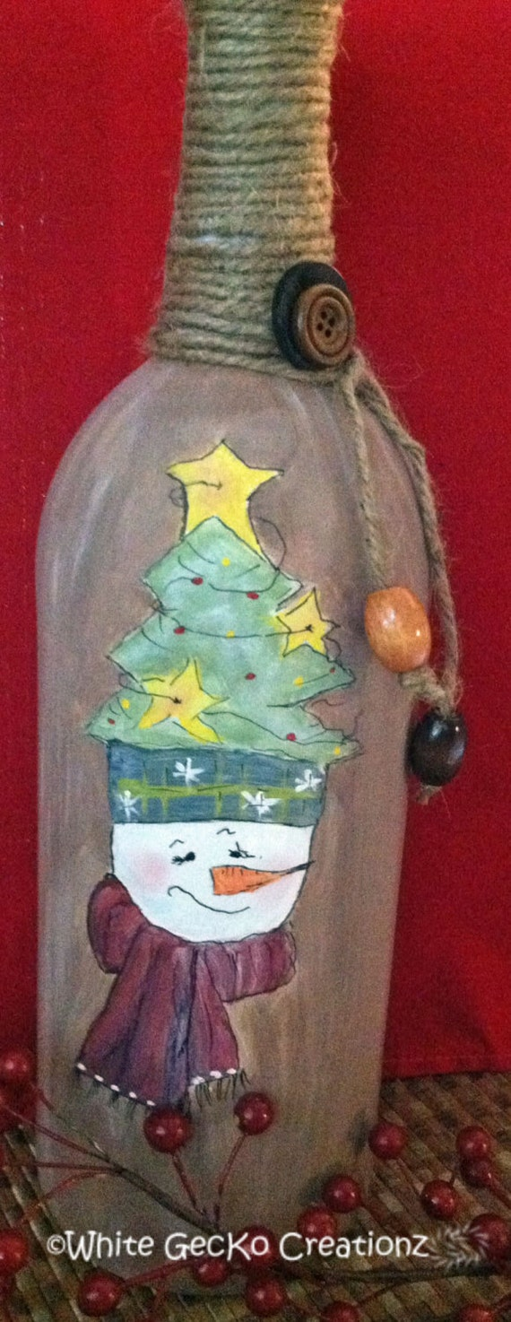 Hand Painted  Bottle,  Christmas Snowman