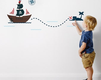 Pirate Ship Fabric Wall Stickers/Wall Decals