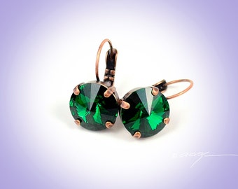 EMERALD 12MM Drop or Stud Earrings Made With Swarovski Crystal *Pick Your Finish *Karnas Design Studio *Free Shipping*