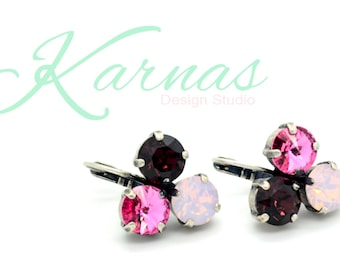 PINK OMBRE 8mm Crystal Chaton Earrings Made With Swarovski Elements *Pick Your Finish *Karnas Design Studio *Free Shipping*