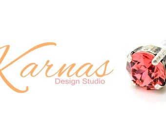 PADPARADSCHA 8mm Post or Stud Crystal Earrings Made With Swarovski Elements *Pick Your Metal *Karnas Design Studio *Free Shipping*