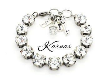 CRYSTAL CLEAR 48SS Crystal Chaton Bracelet Made With Swarovski Elements *Karnas Design Studio *Pick Your Metal *Free Shipping*