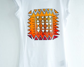 Hand painted White and Orange Boho Ornament Women T-shirt, bohemian t-shirt: Inki
