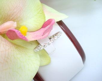 18K White Gold Floating Diamond Eternity Wedding Band with 1.20CTW Round Diamonds