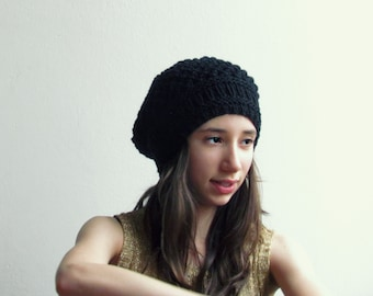 black knitted hat/Black slouchy beanie / Slouchy hat / Boho hat / 33 DIFFERENT COLORS