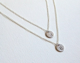 Layered Initial Handstamped Necklace Silver Initial Necklace Personalized Kids Necklace Best Friends Handstamped Necklace Valentines Gift