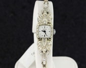 14K Gold Hamilton Pave Diamond Leaves Wrist Watch
