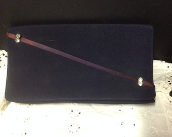 Vintage Navy Blue Envelope Clutch  Purse  with Rhinestones