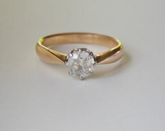 Antique Old European Cut .55ct diamond ring 14K