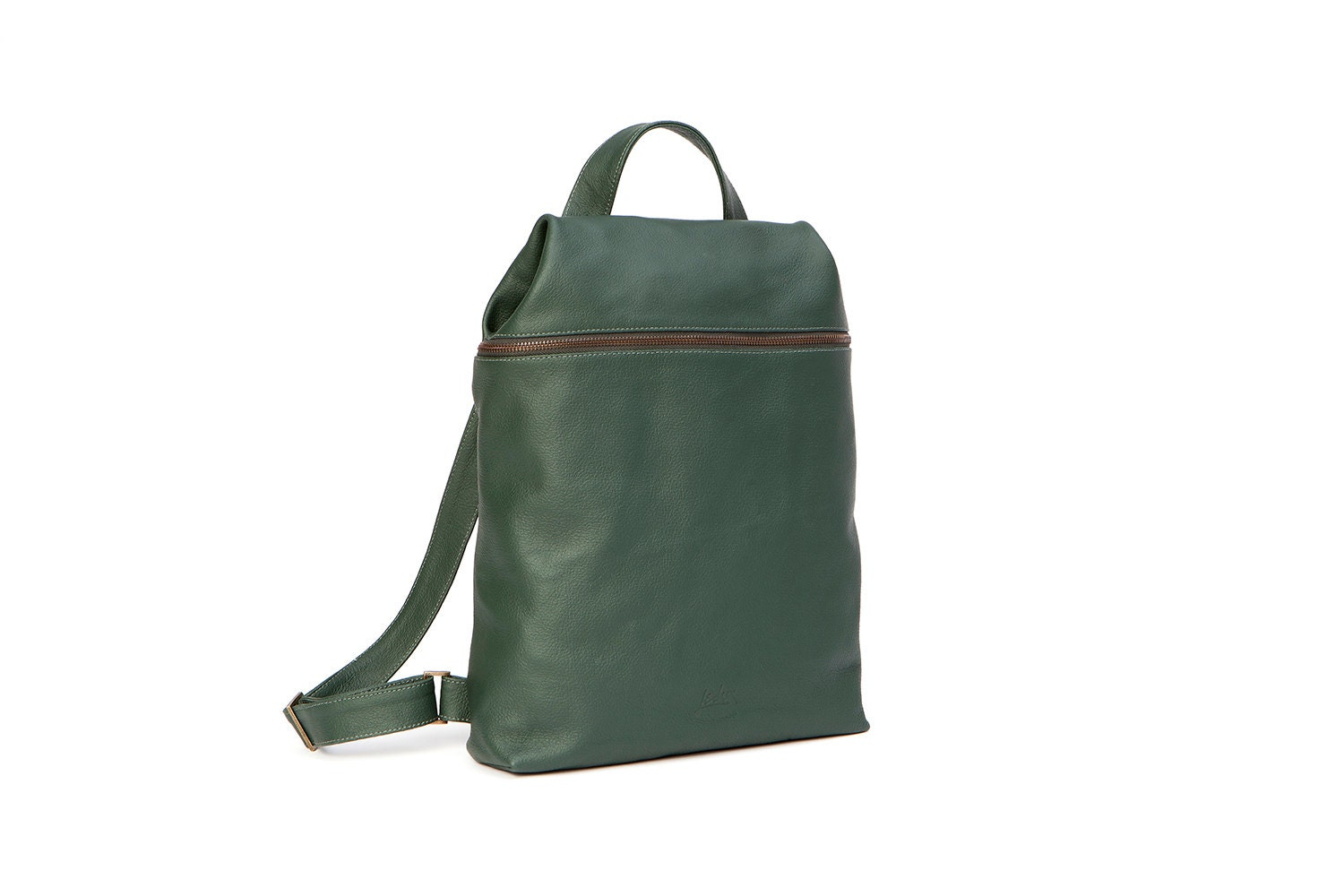 Green Leather Backpack leather laptop backpack womens