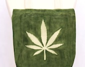 Hand painted cotton bag with cannabis leaf and face. Market bag, raw cotton. - DorSilk