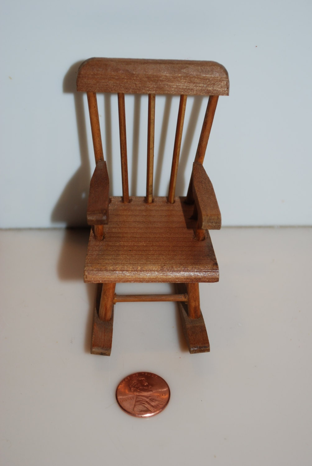 Dollhouse Shackman Wood Wooden Rocking Chair Vintage Miniature Furniture 3 Haute Juice