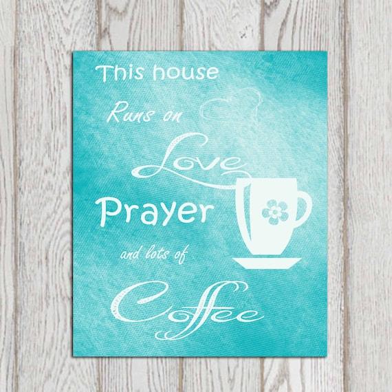 Kitchen Decor Turquoise: Kitchen Decor Coffee Printable Turquoise Kitchen Wall Art Teal Kitchen Decor Poster Print This