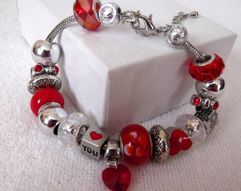 Red European Glass Charm Bead Bracelet for 7 inch 18 cm wrists, Red Hearts and Romantic Charm Beads, Valentines Christmas Gift, ID 175588854